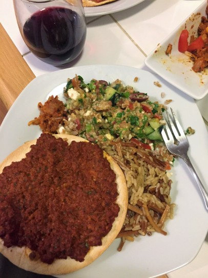 Vegetarian lavash or armenian pizza for me, and egg noodles